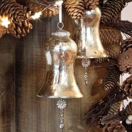 Lot de 2 décorations de Noël Manon champagne