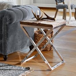 Table d'appoint Willis argenté/marron