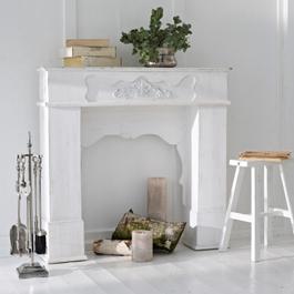 Console de cheminée Margaux blanc vieilli