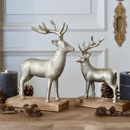 Lot de 2 décorations cerfs Wally
