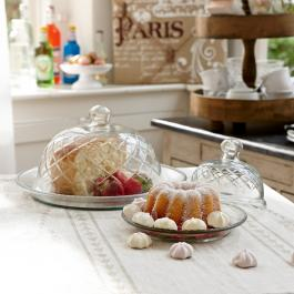 Lot de 2 cloches en verre avec plateau Darlington