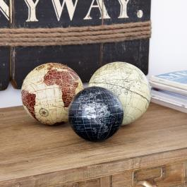 Lot de 3 boules décoratives World
