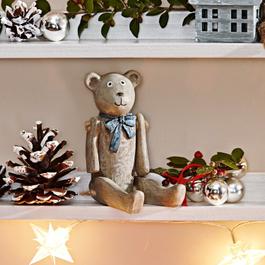 Lot de 2 décorations ours Bruno & Winnie gris vieilli