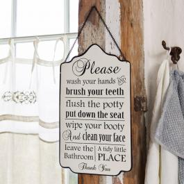 Panneau décoratif Bathroom Rules