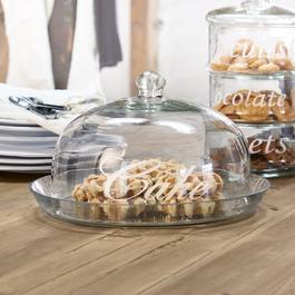 Cloche en verre avec plateau Gâteau