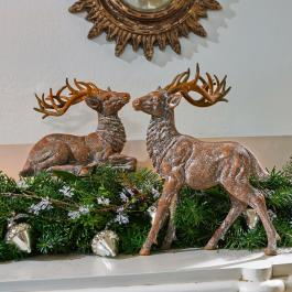 Lot de 2 décorations cerfs Guy & Gustav