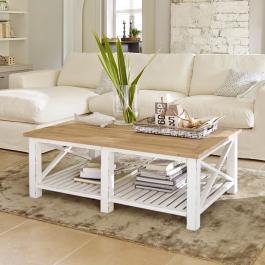 Table basse Medfield blanc/marron