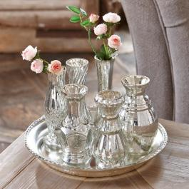 Plateau avec vases Blairville couleur argent vieilli