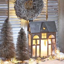 Lanterne Sweet Home gris vieilli