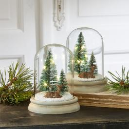 Lot de deux cloches en verre Winterwonderland