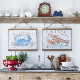 Lot de 2 panneaux décoratifs Crustacean