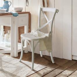 Chaise Kary blanc vieilli