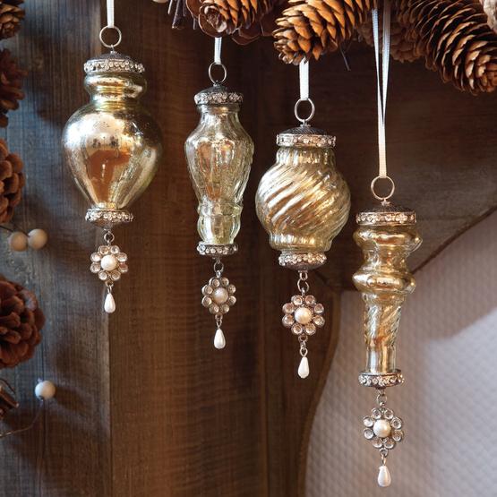 Lot de 4 décorations de Noël Larme