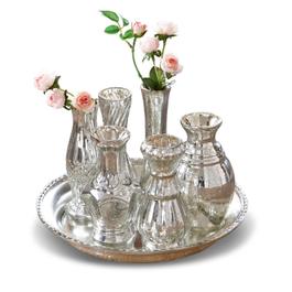 Plateau avec vases Blairville argenté vieilli
