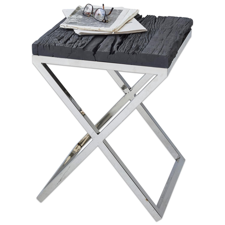 table d 39 appoint willis couleur argent noir loberon. Black Bedroom Furniture Sets. Home Design Ideas
